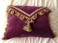 VINTAGE CUSTOM PURPLE VELVET SCALAMANDRE TASSEL TRIM GOOSE DOWN ENVELOPE PILLOW
