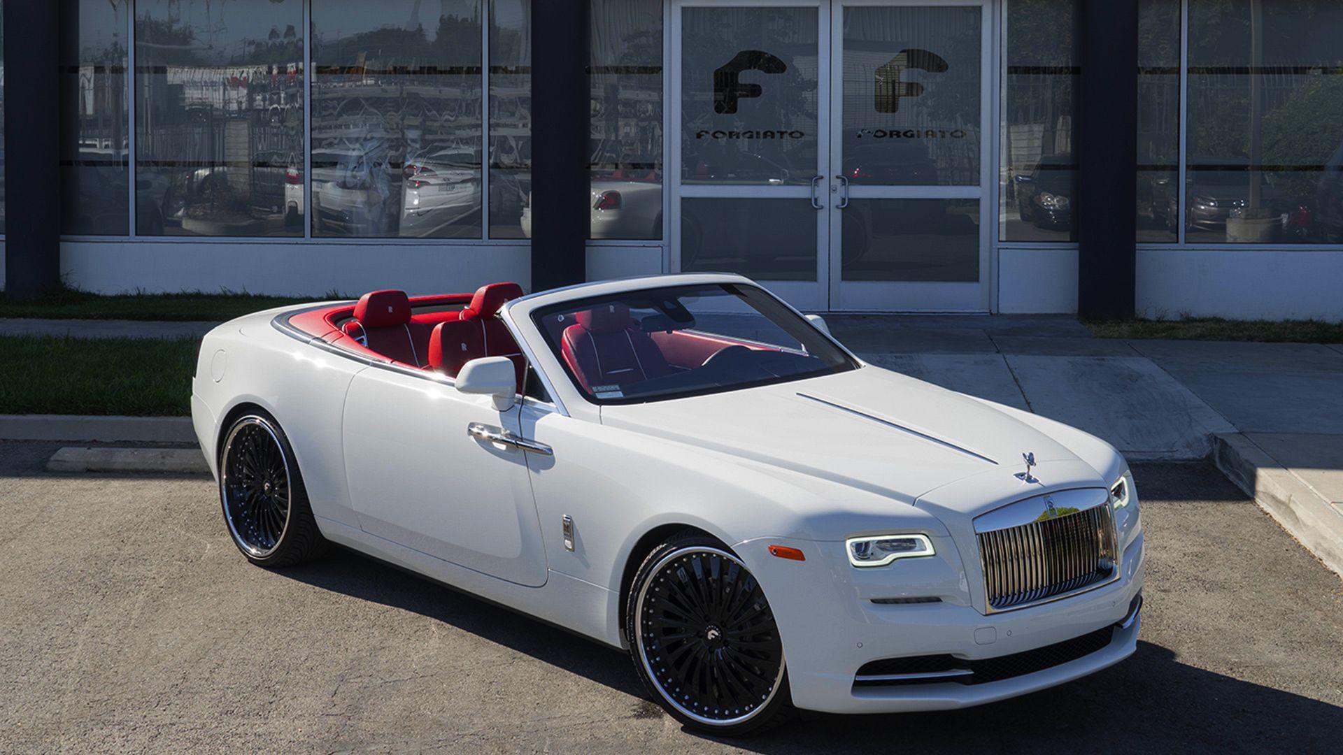 Photo of White Rolls Royce Dawn on Black Forgiatos !