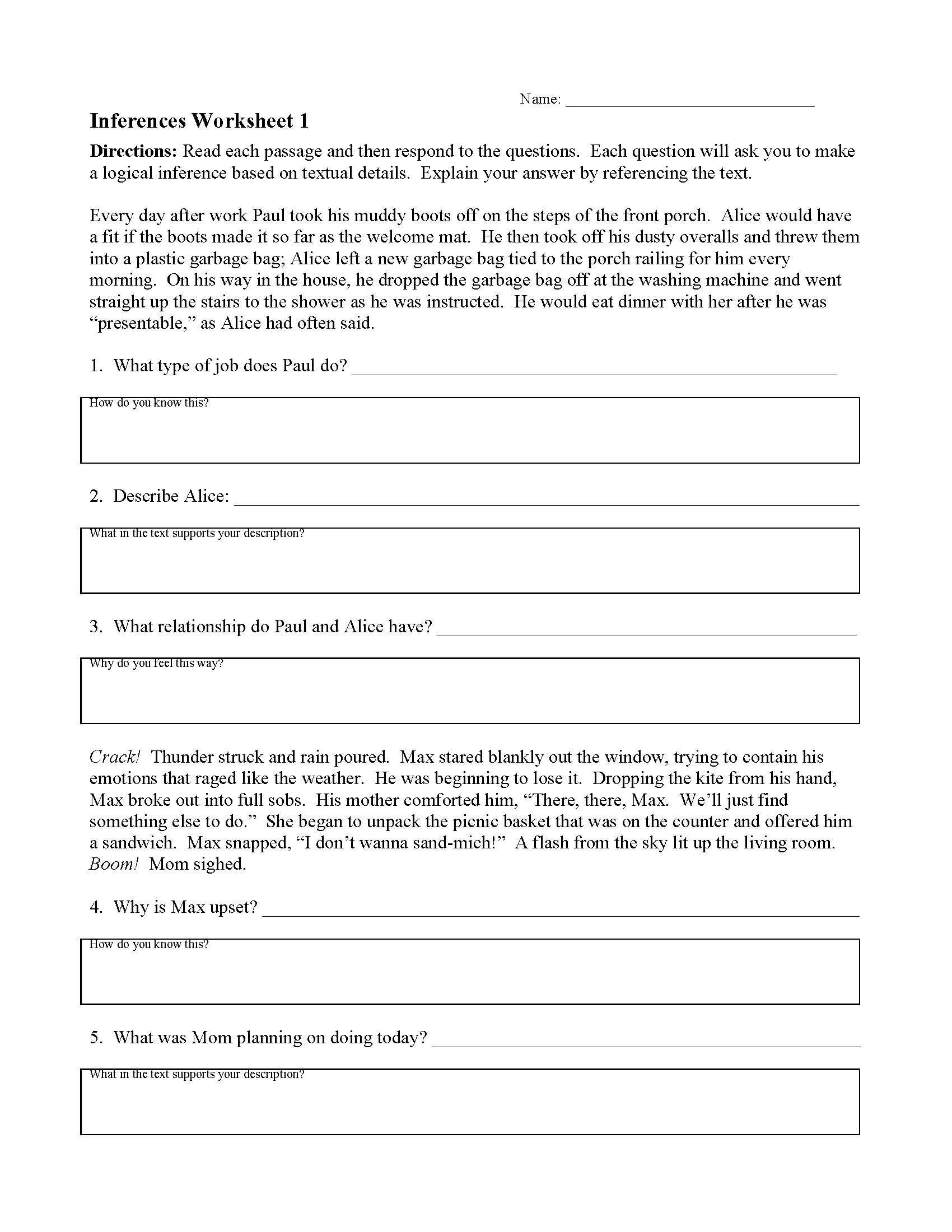 Inferencing Worksheet