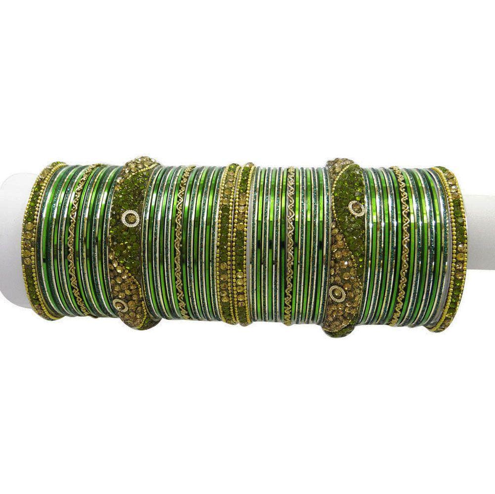 Indian party wear gold tone green cz bangle set costume bracelet