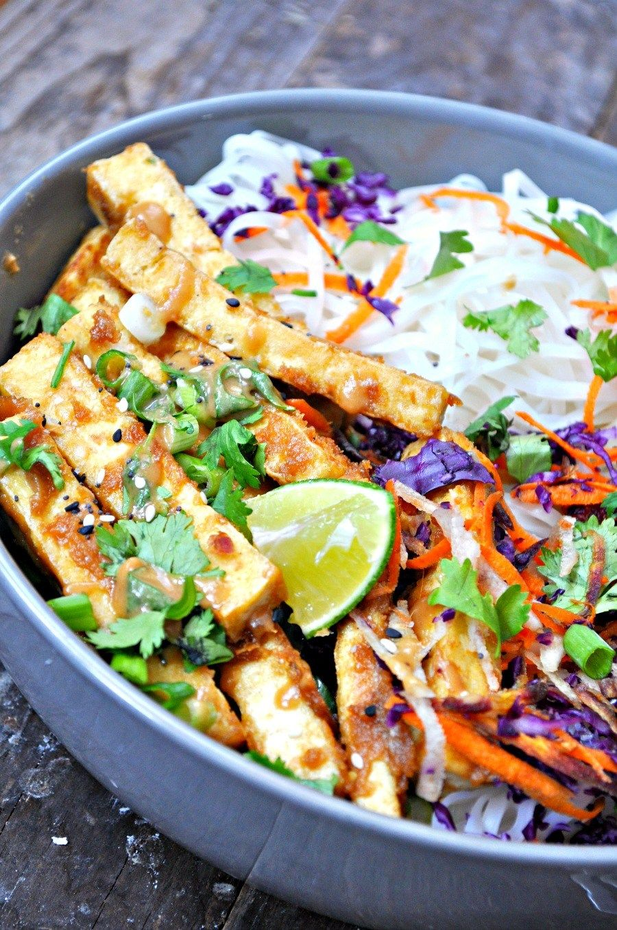 Vegan Orange Peanut Tofu Satay Noodle Salad
