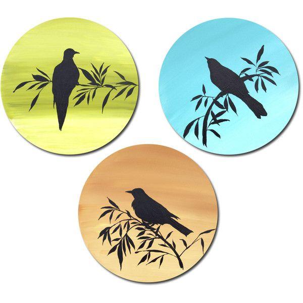 Round Painting, Dove, Silhouette, Bird Art, Yellow Green, Nursery ...