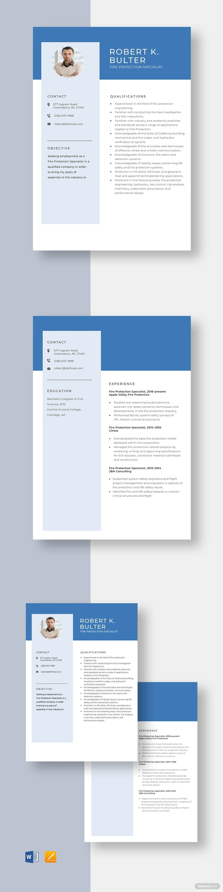Fire protection specialist resume template in 2020