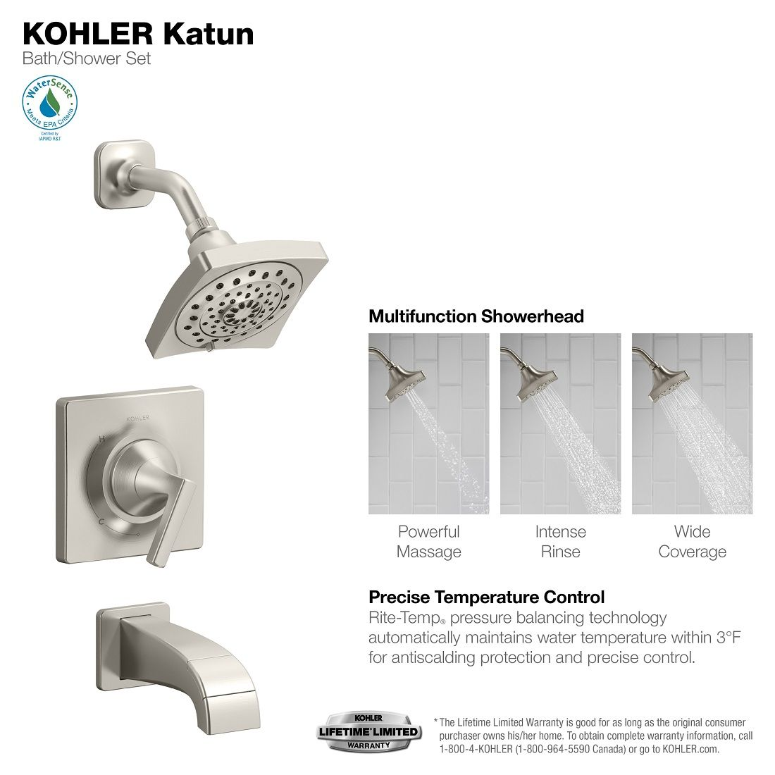 Kohler Katun 1 Handle 3 Spray Tub And Shower Faucet In Brushed Nickel Valve Included K R78040 4e Bn Tub Shower Faucets Shower Tub Shower Faucet