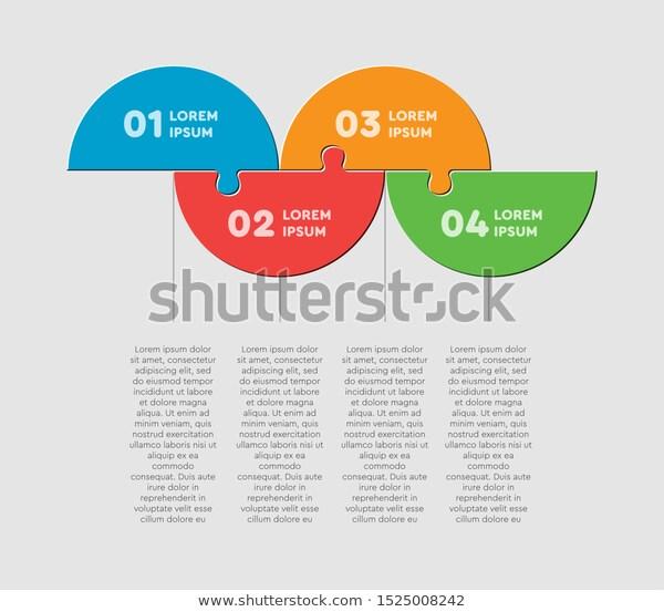 Four Pieces Puzzle Half Circles Diagram Stock Vector Royalty Free 1525008242 Circle Diagram Diagram Half Circle