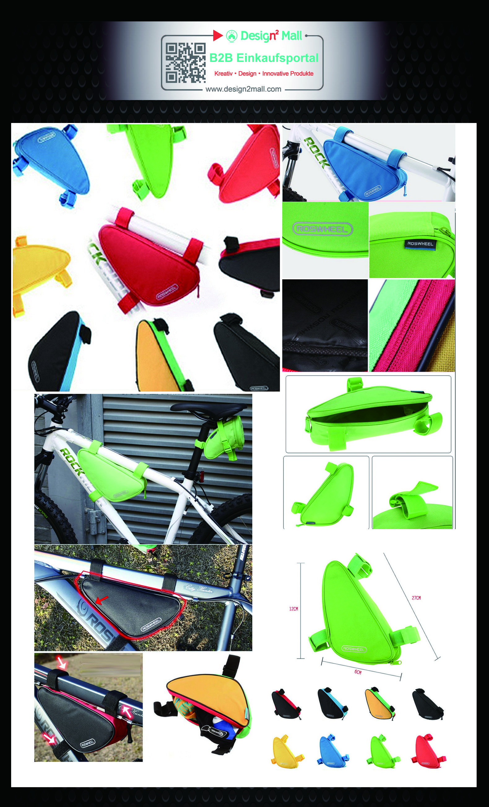 Cycling Bike Front Frame Top Tube Triangle Pannier Bag Storage Pouch ...