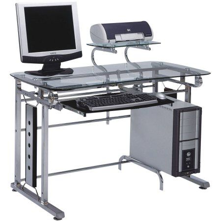 acme felix computer desk silver chrome and clear glass products rh pinterest com