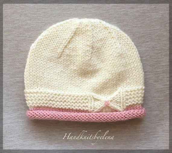 Instant Download Knitting Pattern Hat with a Small Bow in Three Sizes #240