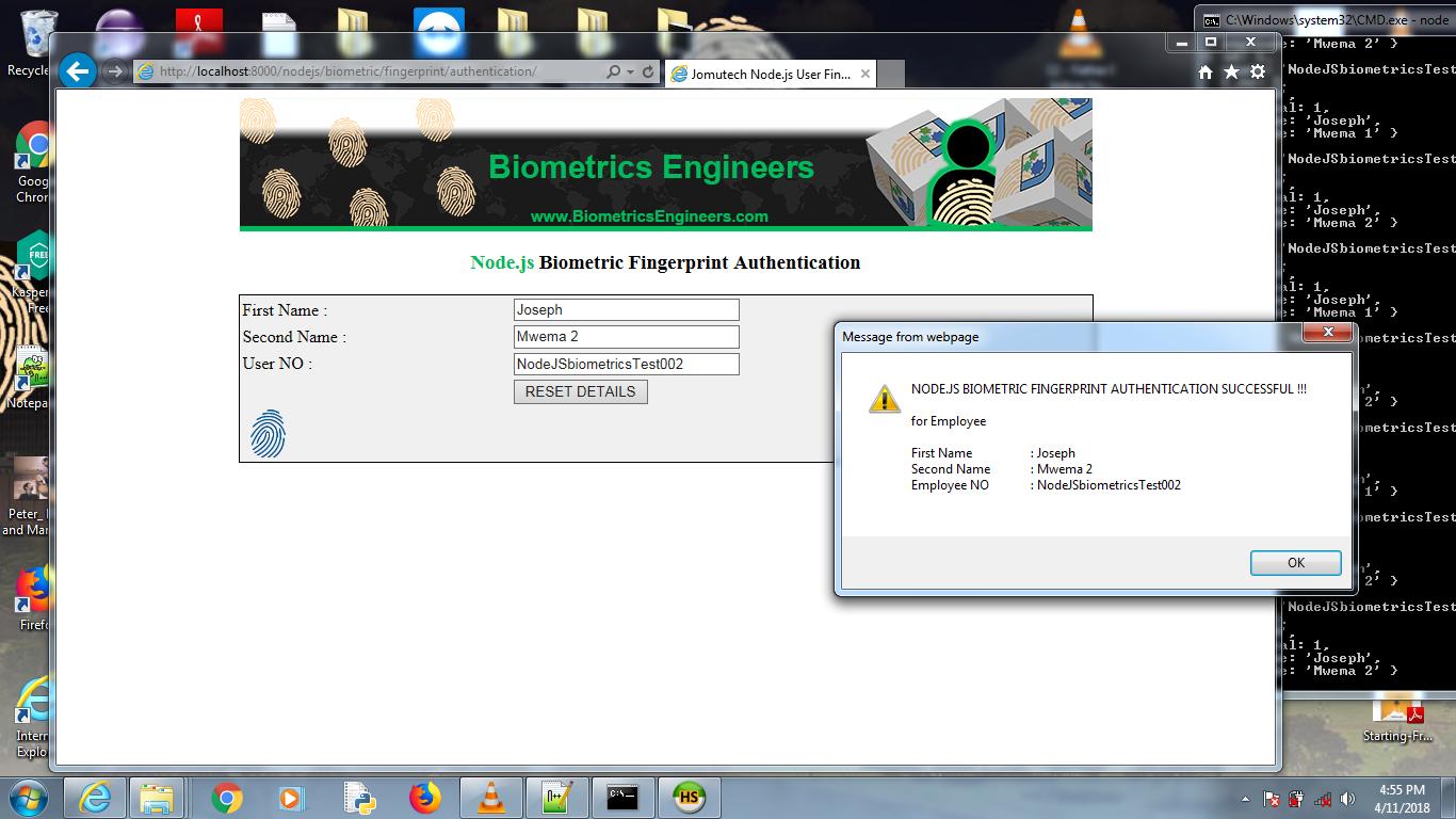 Successfully MATCHED USER in Node JS Biometric Fingerprint