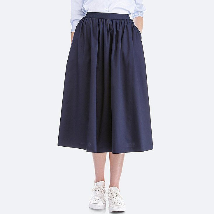 660991ad40 WOMEN VOLUME SKIRT Uniqlo Skirts, Modest Outfits, Modest Clothing, Midi  Skirt, Cotton