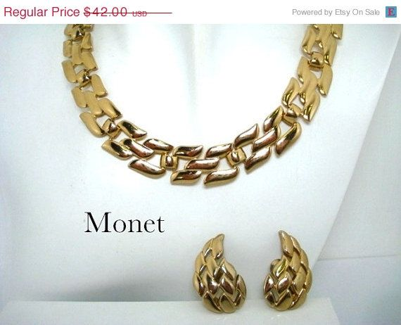 ON SALE Vintage Monet Gold Tone Link Necklace and Earrings on Etsy