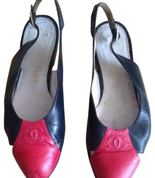 Chanel Navy With Red Toe Flats $130