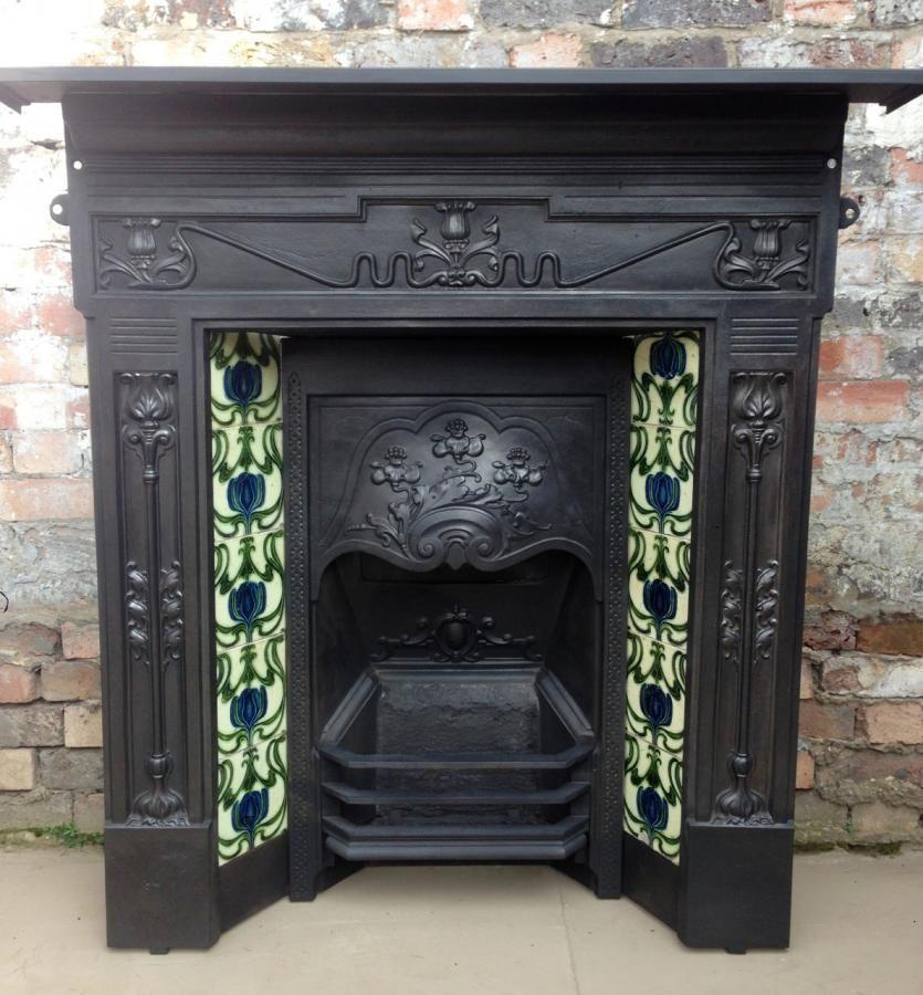A Beautiful Original Victorian Fireplace With Pretty Art Nouveau