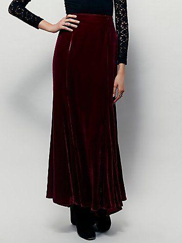 c9322f46c69 FP X Curtain Call Velvet Maxi Skirt
