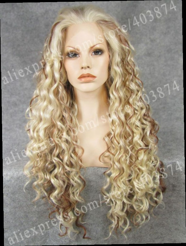 42.49$  Watch now - http://alirae.worldwells.pw/go.php?t=1759756001 - N18-1001/613/30# Charming Blonde Color highlighted brown Fashion afro Curly Synthetic  Lace Front Wig for Women