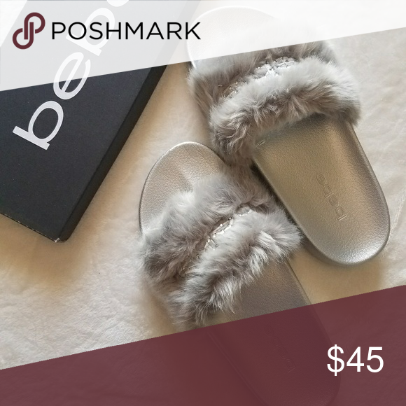 33a841c8f073 Silver BEBE Faux Fur Slide Sandals Get a cute and casual style with bebe  Furiosa Slide