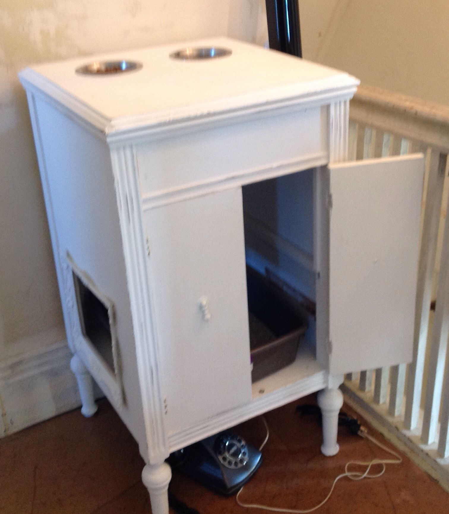 Cat Feeding Litter Box Station Repurposed From A Victrola Cabinet