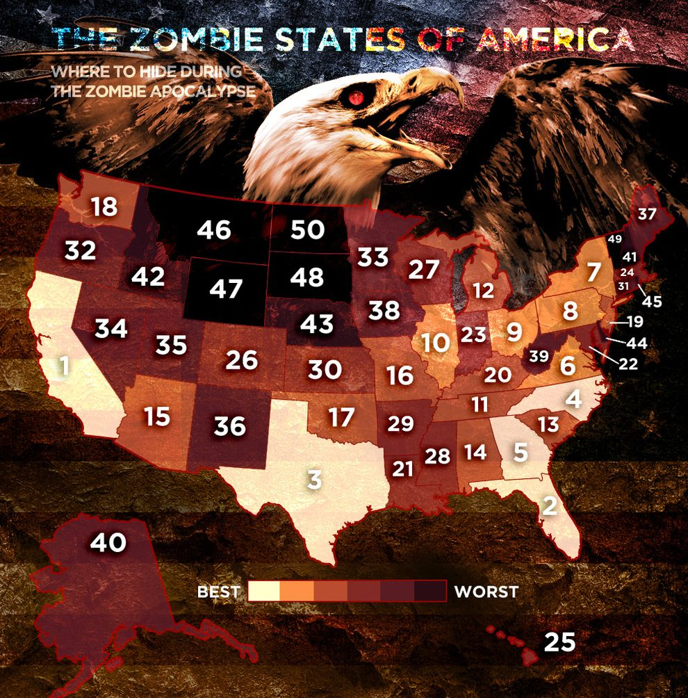 The Zombie States Of America With Images Zombie Zombie