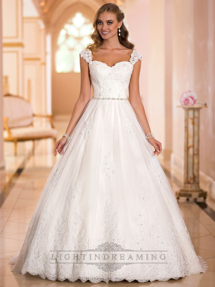 Straps Sweetheart Lace Princess Ball Gown Wedding Dresses Lightindreaming