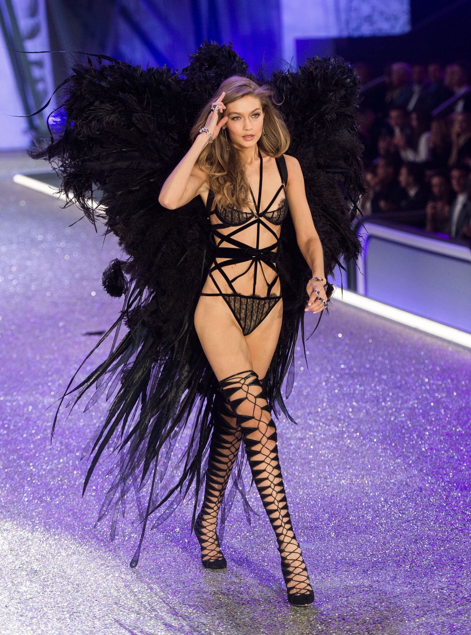 a35037e6f9 Gigi Hadid Wore a Sweatshirt   Angel Wings at the Victoria s Secret Dress  Rehearsal - HarpersBAZAAR.com