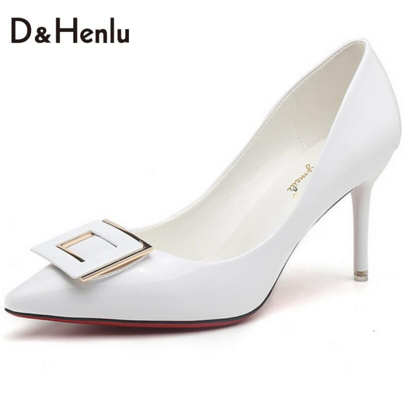 Price Tracker And History Of White Shoes Woman High Heels Pumps Square Buckle Women Wedding Black