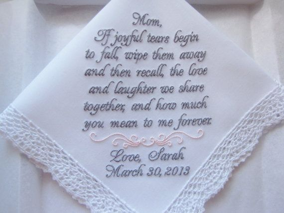Mother Of The Bride Gift Custom Embroidered Personalized Wedding Handkerchief Hankies Handkerchiefs