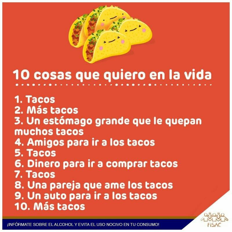 10cosas que quiero en la vida Memes para mi novio, Tacos