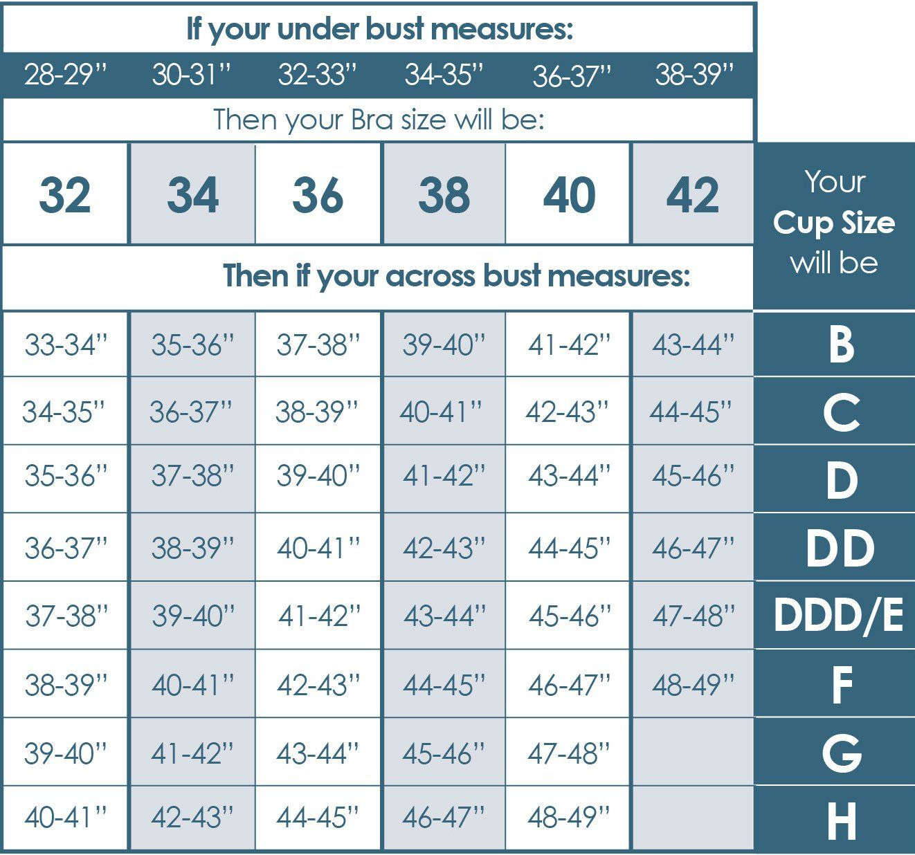 Bra Chart Size Charts Calculator Pattern Underwear