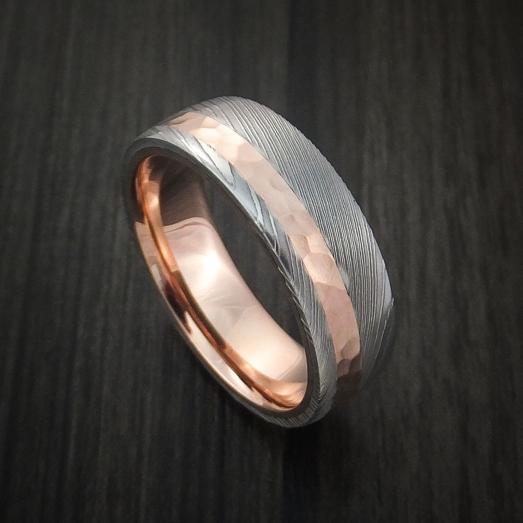 Damascus Steel Ring With 14k Rose Gold Hammered Inlay And Gold Sleeve Custom Made Band Damascus Steel Ring Mens Wedding Rings Titanium Wedding Rings
