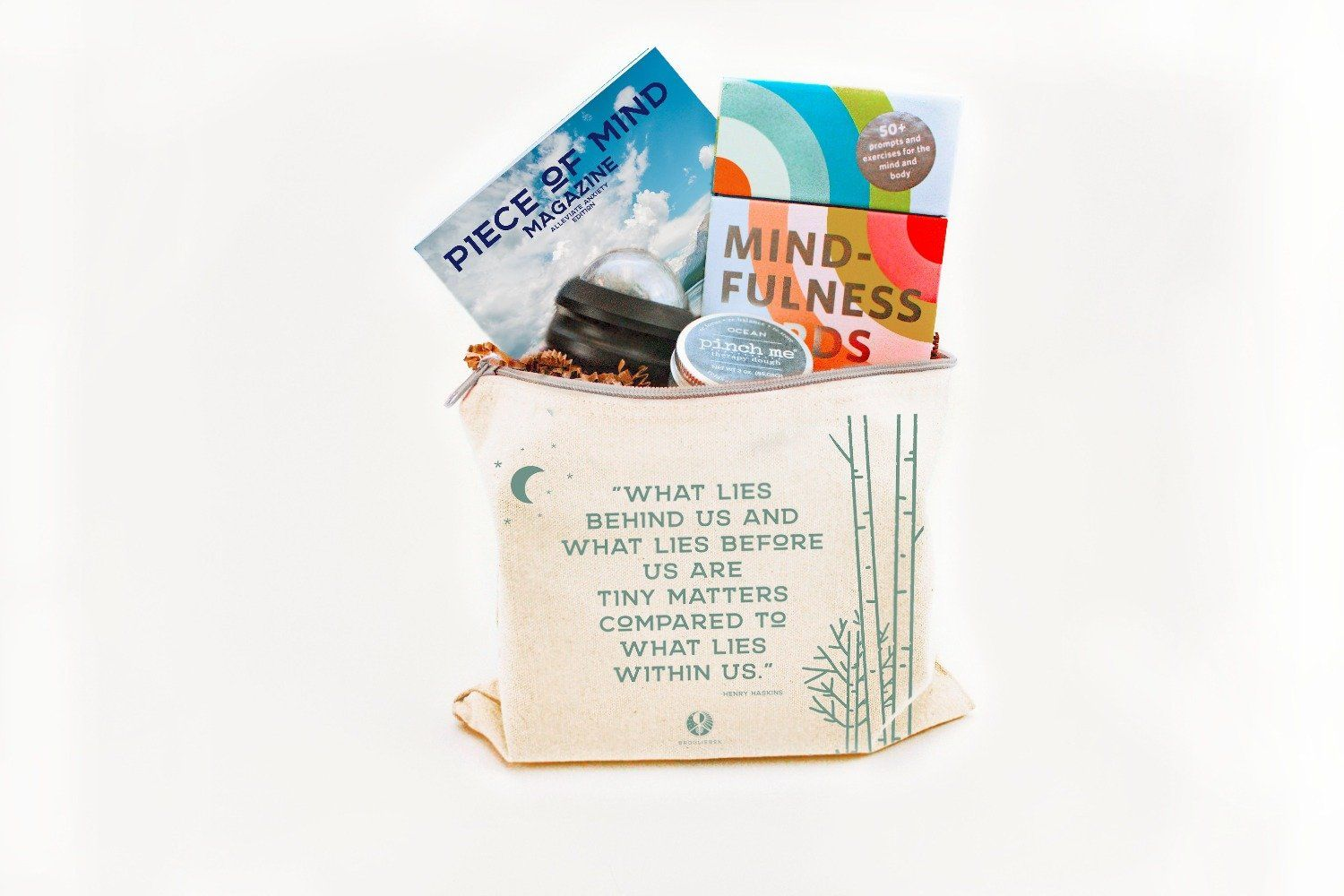 Feeling anxious or know someone who might be struggling? This kit was designed to be taken anywhere, for relief on the go. It comes packed in its own canvas bag with a reminder that what matters most is within. Contents BroglieBox™ Canvas Travel Bag Pinch Me® Therapy Dough Massage Roller Ball 50+ Prompted Mindfulness Cards Piece of Mind Magazine™ - Alleviate Anxiety Edition More If you are looking for more anxiety resources, be sure to check out our BroglieBlog for more free articles and pieces.