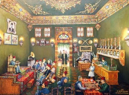 لوحة من التراث الدمشقي Heritage Of Damascus The Storyteller In An Old Traditional Damascus Cafe Arabian Art Oriental Art Painting