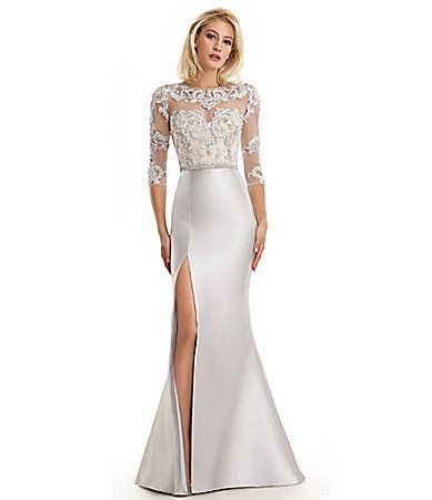c8793e4b2f6 Lasting Moments Beaded Lace Bodice Gown  Dillards