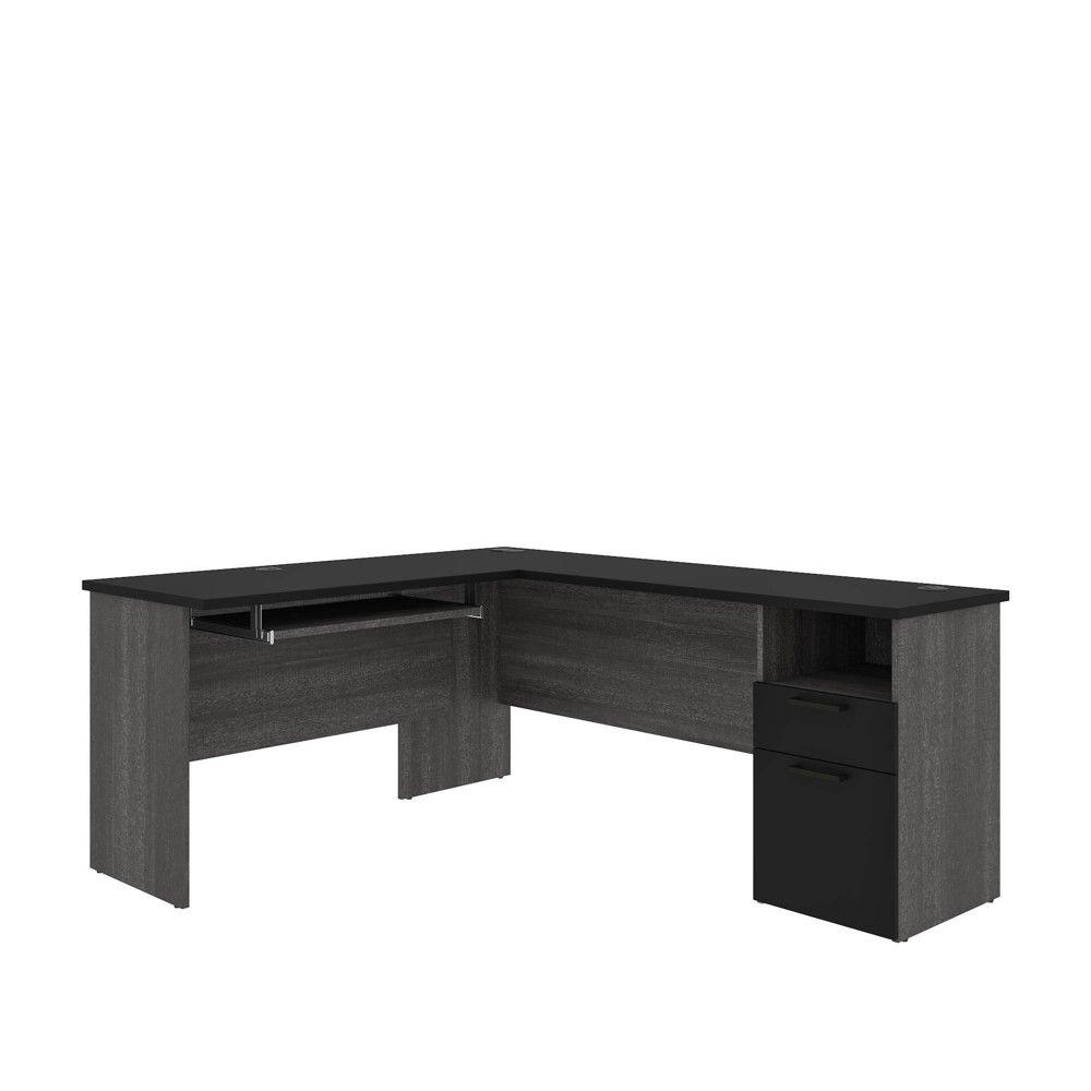 Norma L Shaped Desk Black Bark Gray Bestar In 2020 L Shaped Desk Black Desk Bestar [ 1000 x 1000 Pixel ]