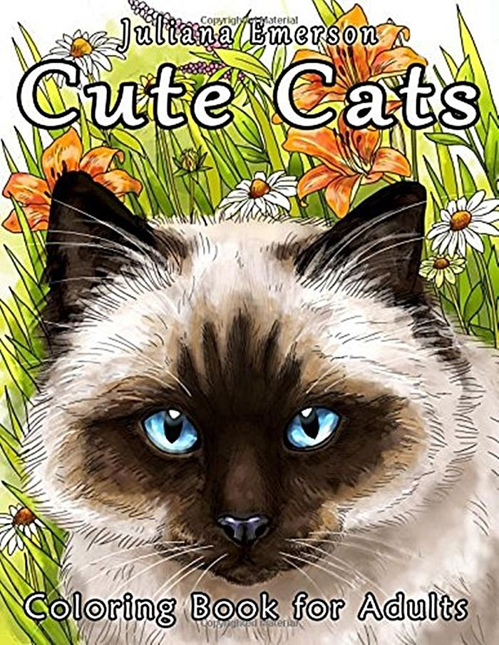 Coloring Books For Adults Cute Cats 2016 Meditation Pages Gift Birthday