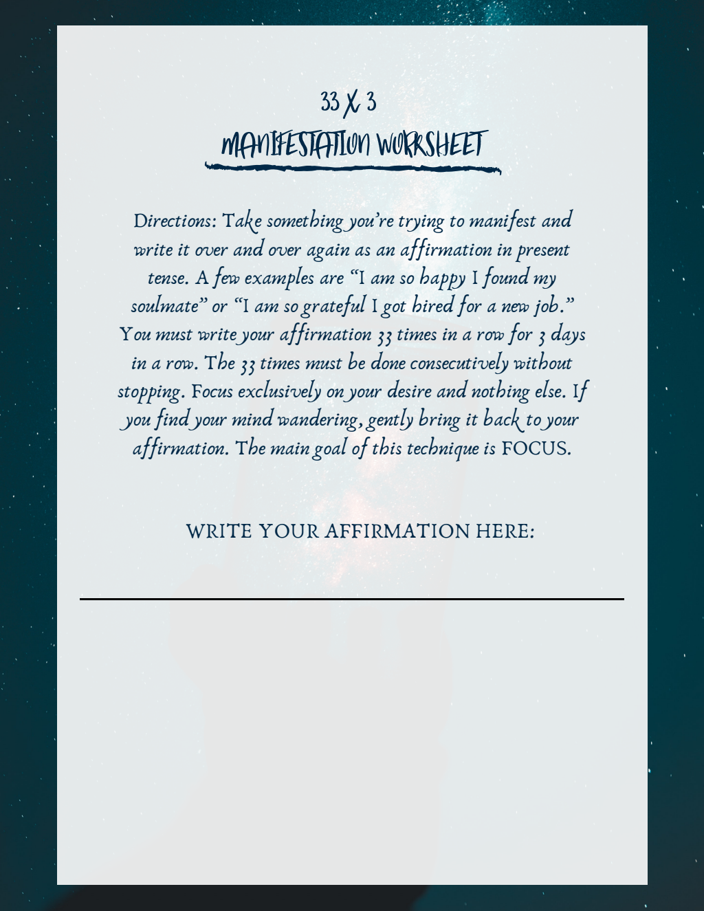 33 X 3 Manifestation Method Worksheets
