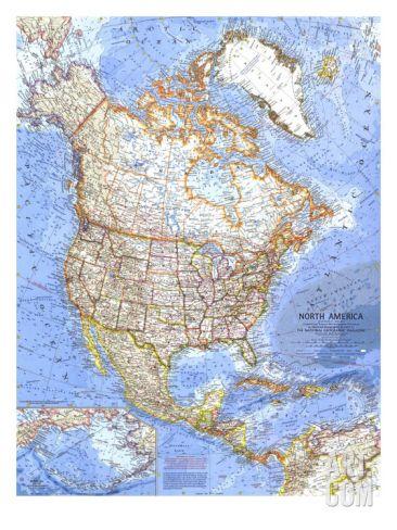 1964 North America Map Art Print at Art.com
