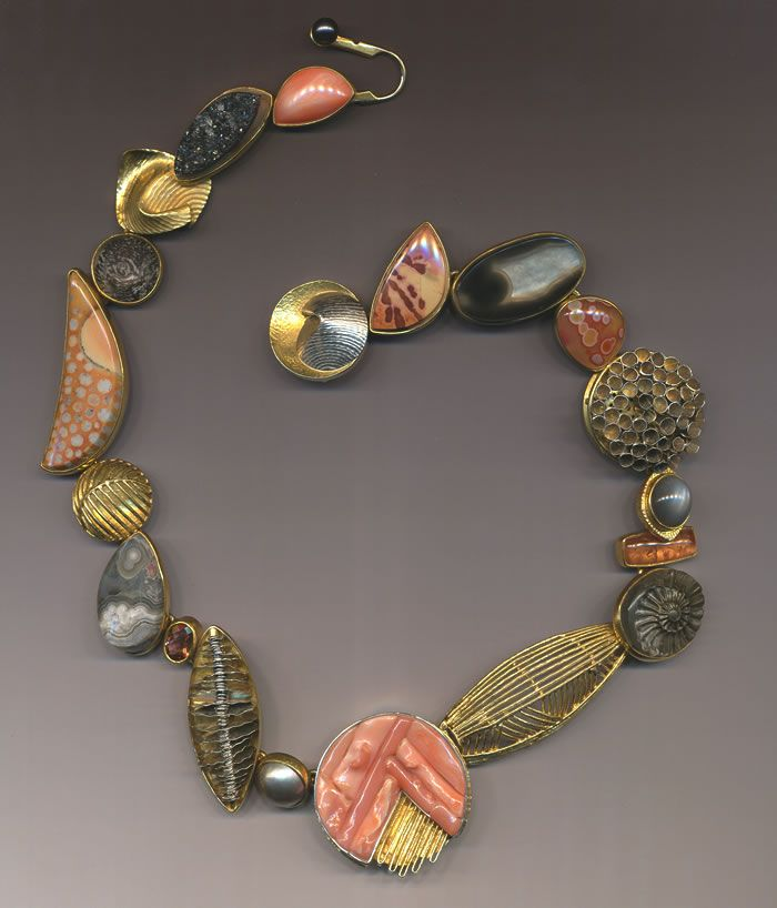 Jeff and Susan Wise - Jaspis, agathe, coral, moonstone Necklace