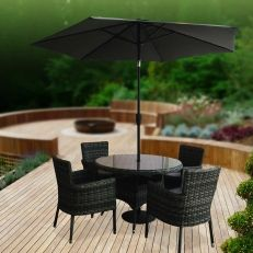 Garden And Pond Depot Alpine Rattan 6 Piece Dinnig Set