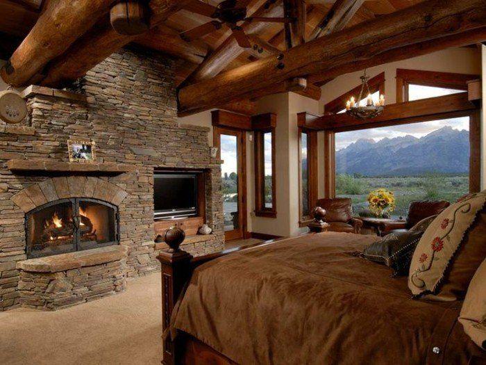 schlafzimmer landhausstil holzbalken kamin steine teppichboden ... - Kamin Gemtlich