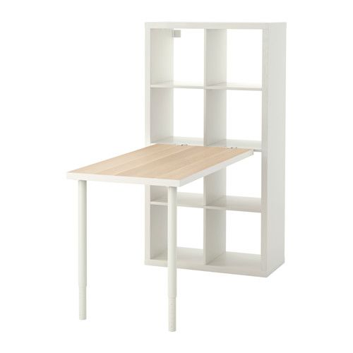 KALLAX white stained oak effect, white, Desk combination