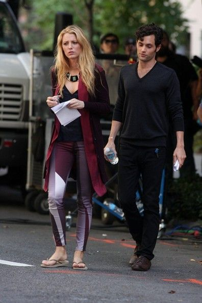 Blake Lively And Penn Badgley: On Gossip Girl Set