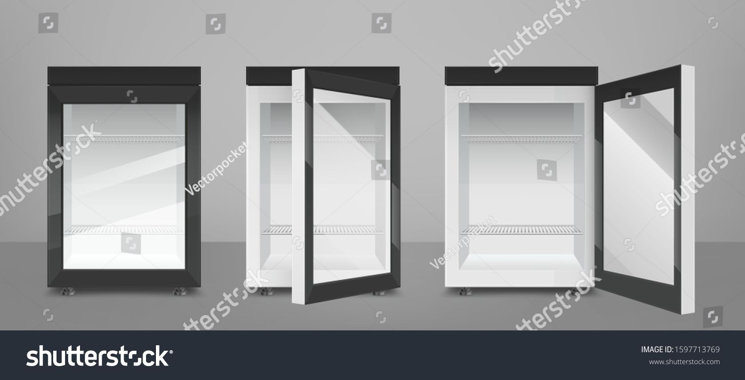 Empty Mini Refrigerator With Transparent Glass Door Vector Black Open And Closed Fridges For Drink Or Fresh Food In S In 2020 Glass Door Modern Graphic Design Design