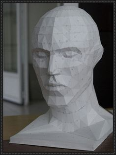 A Very Detailed Human Head Free Papercraft Download | Paper