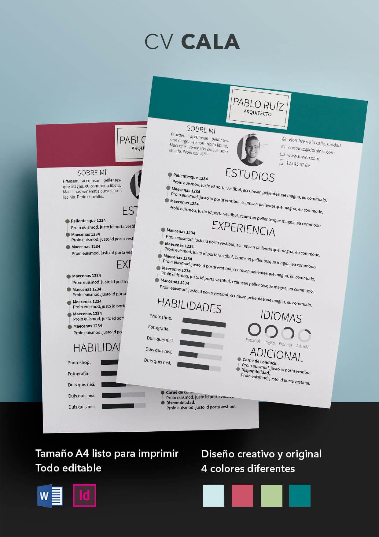 Currículum Vitae modelo Cala | Curriculum | Pinterest | Currículum ...