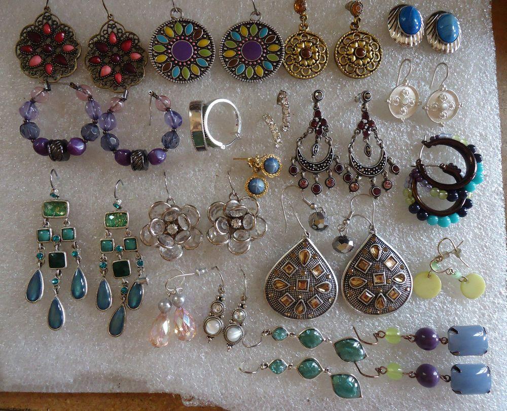Body piercing earrings  Lot of pierced earrings mixed lot  pr Liz Claiborne rhinestone