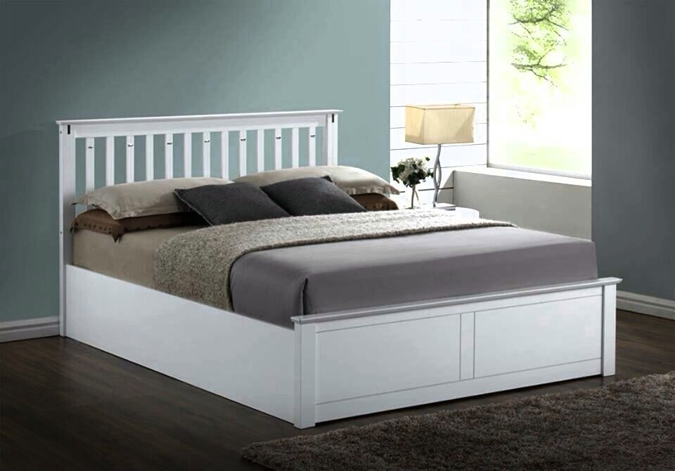 Lavish New Solid Wooden Ottoman Storage Bed Frame In King Size White