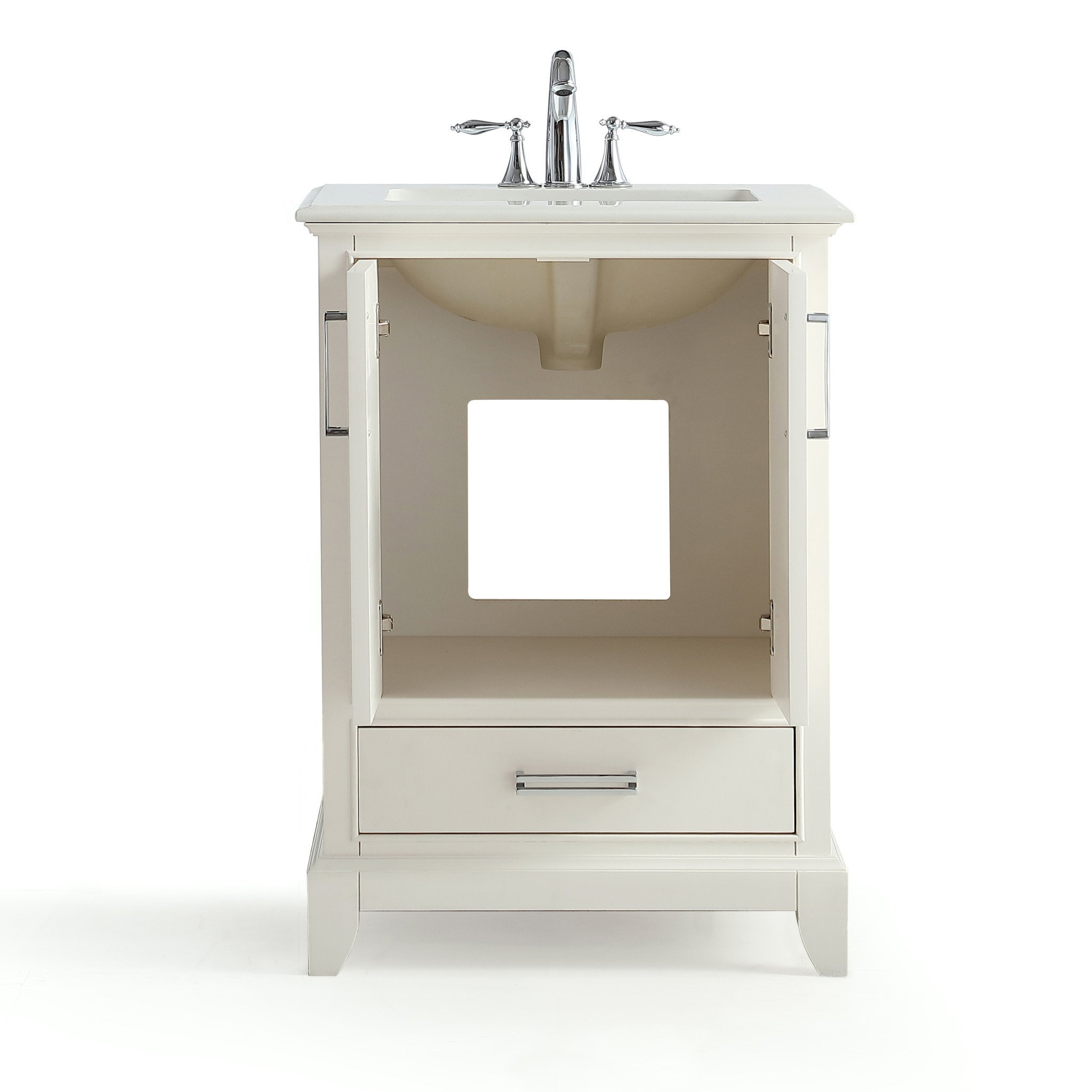 Update Your Bathroom With The Sophisticated Elise 24 Inch Vanity Sleek Pulls Adorn The Bottom Drawer And Two Doors Which Op Vanity Rectangular Sink Marble Top [ 2048 x 2048 Pixel ]