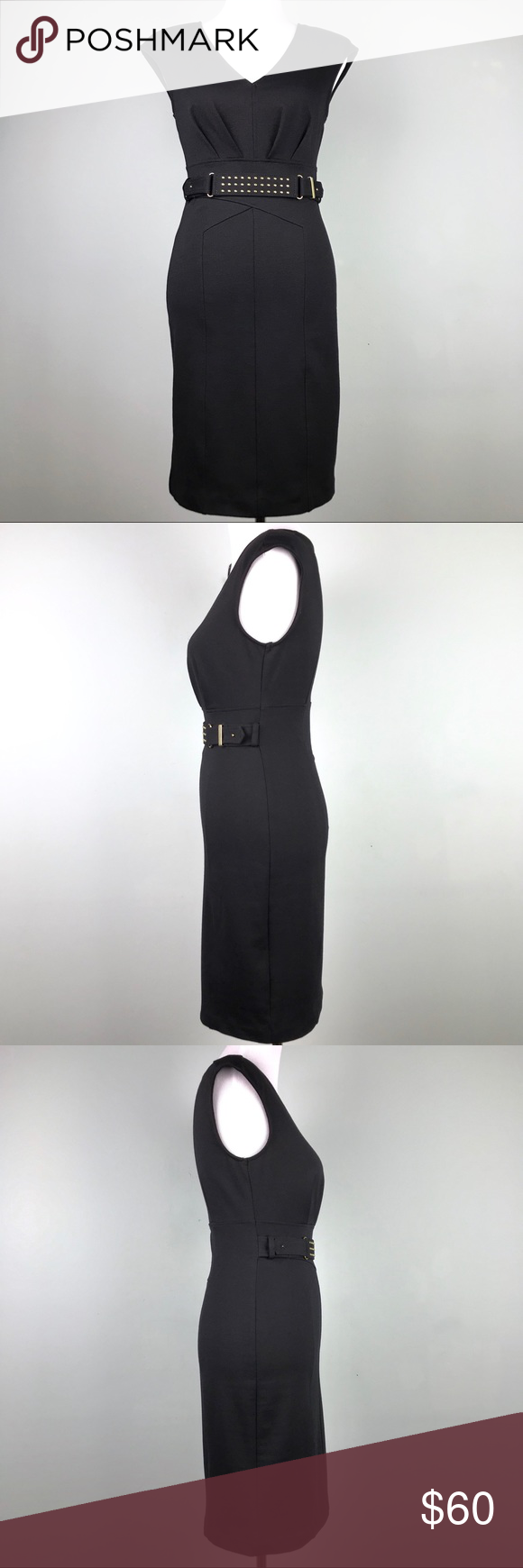 Jennifer Lopez Black Gold Sleeveless Dress Size 2 #blacksleevelessdress