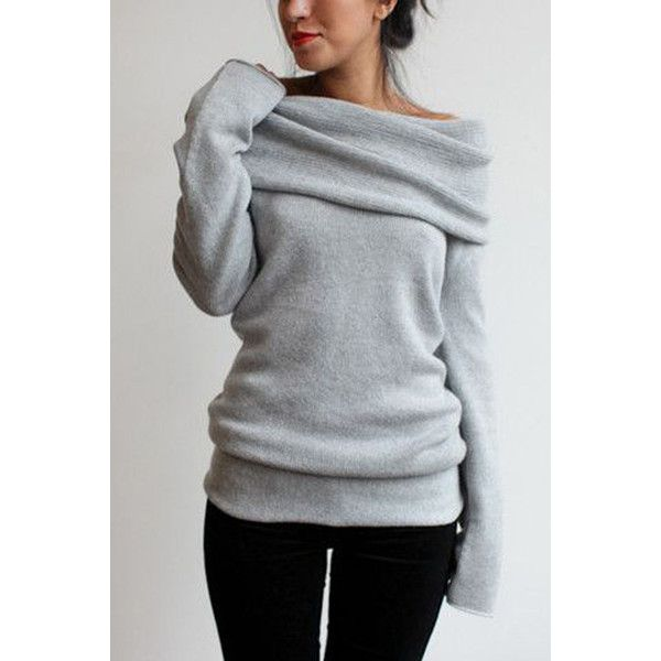 Light Gray Turtle Neck Long Sleeve Casual Knitted Sweater (380 MXN) ❤ liked on Polyvore featuring tops, sweaters, turtle neck sweater, long sleeve tops, polo neck sweater, turtle neck top and turtleneck sweater