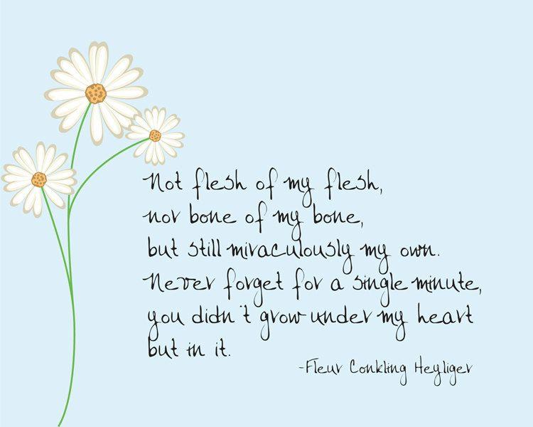 Not flesh of my flesh -- Fleur Conkling Heyliger adoption quote